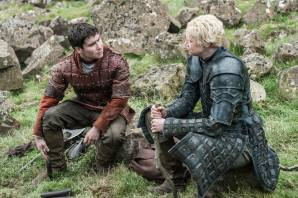 Daniel Portman as Podrick Payne and Gwendoline Christie as Brienne of Tarth – photo Helen Sloan/HBO