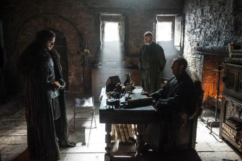 Kit Harington as Jon Snow, Stephen Dillane as Stannis Baratheon and Liam Cunningham as Davos Seaworth – photo Helen Sloan/HBO