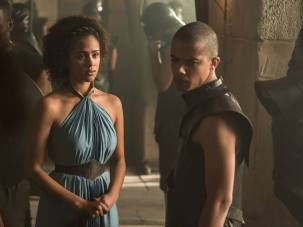 Nathalie Emmanuel as Missandei and Jacob Anderson as Grey Worm – photo Helen Sloan/HBO
