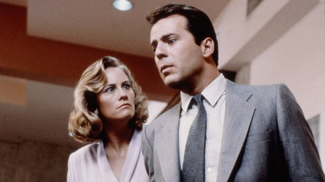 MOONLIGHTING, Cybill Shepherd, Bruce Willis, in Season 1 episode, 'Brother Can You Spare A Blonde' S